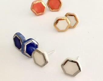 Hex earrings, ceramic studs, white, 22k gold lustre, hexagonal, sterling silver posts
