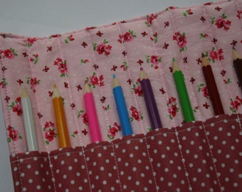 Floral Pink Pencil Roll / Case