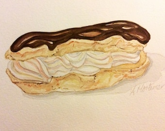 Chocolate eclair watercolour painting