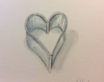 Heart cookie cutter watercolour painting