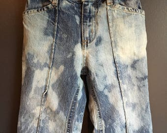 12-18 months, bleach dyed recycled jeans