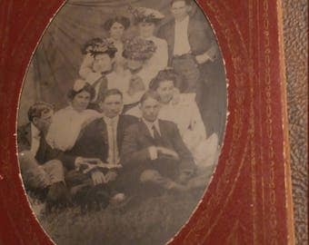 Did You Take It Already?  Antique Tintype Photograph of Group Not Quite Ready For Their Photo