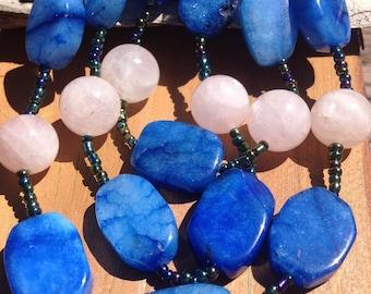"""Rare Blue Jade, Rose Quartz 3-layer Beaded Necklace 19 7/8"""""""