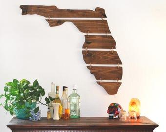 Florida State Wood Sign, Provincial (Medium Brown), Florida State Wall Art, Florida State Home Decor, Rustic Florida Sign, Wall art