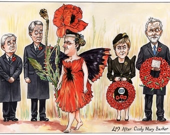 Poppygate: Signed Giclee print of a pen & ink and watercolour political cartoon.