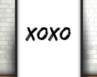 XOXO - Instant Download.Monochromatic digital print Digital Print. Typography Print. Digital art. Minimalist home decor. valentines day