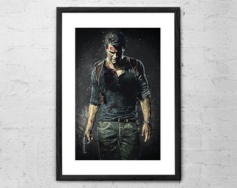 Uncharted - Nathan Drake - Video Game Poster - Uncharted 4: A Thief's End - Uncharted 2 - Game art - Gaming - Uncharted Poster - Geekery