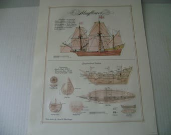 "Architectural Drawing,Print, of the ""Mayflower"" Sailing Ship measures 17 1/2"" by 13 1/2""  suitable for framing"