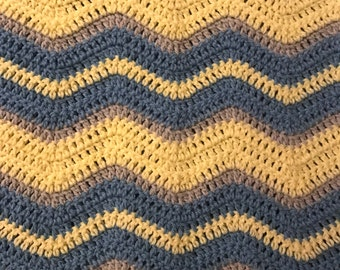 Crocheted Ripple Baby Blanket -  Yellow, Blue and Gray