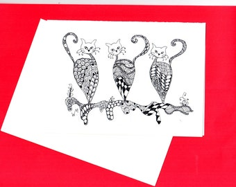 Sassy Cats  Zentangle Doodle Card, Cats, Nature, Colouring Cards