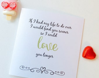 Love You Longer Greeting Card - Valentine Card - Birthday Card  - Boyfriend Card - Girlfriend Card - Anniversary Card - LOVE