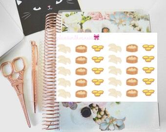 Dimsum Lover (Asian food, Dumplings, Xiaolongbao, 小籠包, egg tart) Hand Drawn Erin Condren Planner Stickers