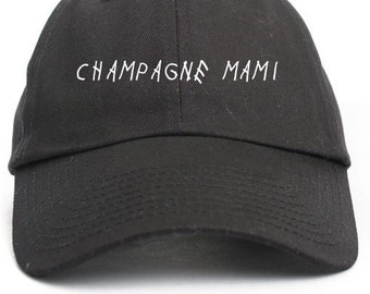 Champagne Mami Unstructured Baseball Dad Hat Cap New - Black
