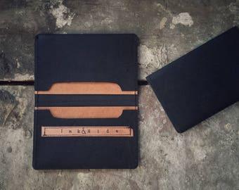 Minimal, sleek, Blackest Black ' Back pocket Wallet ', Kangaroo leather, hand tattooed modern