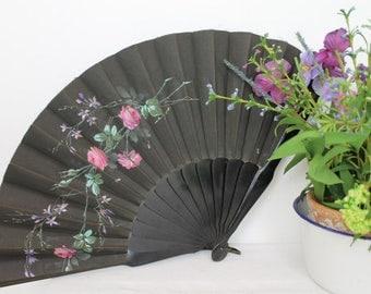 Vintage Hand-painted Fan/ Hand Held Fan/ Accessories/Ladies Fan/1920s/1930s/SALE (1709Q)