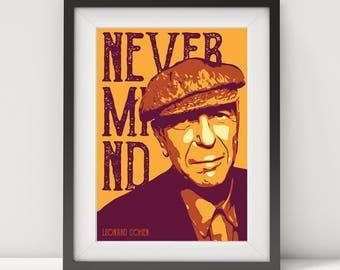 leonard cohen, leonard cohen poster, leonard cohen portrait, leonard cohen art, quote poster, music legend, music poster, folk-rock music