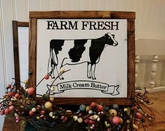 Farm Fresh Sign, Framed Wood Sign, Farmhouse Sign
