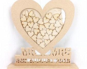 wedding drop box, wedding visitor book, heart drop box, personalised drop box