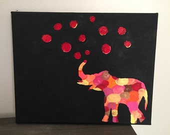 Handpainted Elephant Canvas With Shimmer Bubbles