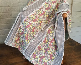 Baby Quilt. Ragged Edges. Baby Gift. Play Quilt.