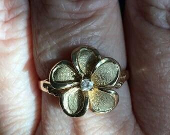14K gold Hawaiian plumeria ring with diamond