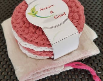 Record Remover cotton (handmade) - cotton make-up remover (entirely handmade) - machine washable and reusable