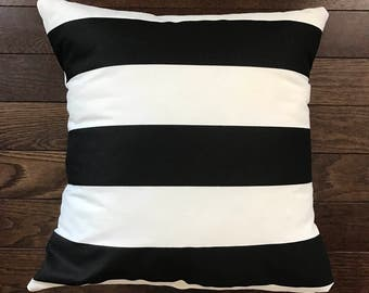 "Black and white stripe pillow cover 18""x18"""