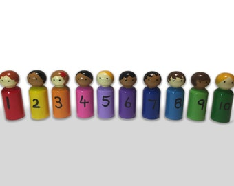 Large - Numbered Rainbow Hand Painted Peg dolls 1 to 10   EYFS/ Gift / Counting / Educational/