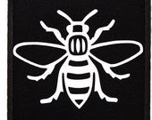 Manc and Proud Manchester Bee (PATCH2) Iron On Patch Embroidery Sewing DIY Customise Denim Cotton Hipster Northern Quarter Save the Bees
