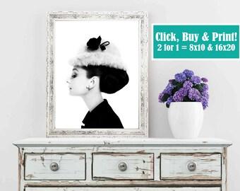 Audrey Hepburn, Art, Wall Art, Digital Art, 8x10, 16x20