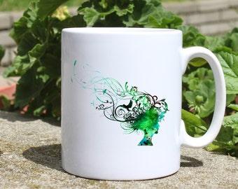 Woman hair mug - Hairstyle mug - Colorful printed mug - Tee mug - Coffee Mug - Gift Idea