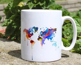 Continents mug - Map mug - Colorful printed mug - Tee mug - Coffee Mug - Gift Idea