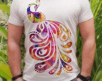 Colorful tee - Peacock tee - Fashion men's apparel - Colorful printed tee - Gift Idea