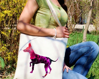 Doberman tote bag -  Dog shoulder bag - Fashion canvas bag - Colorful printed market bag - Gift Idea