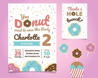 Donut Invitation | Donut Birthday invitation| Donut Birthday Card | Donut birthday invitation card  + Free Thank You Card