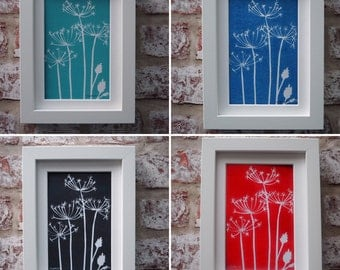 Cow Parsley, lino print, four colours available, framed and signed by the Artist