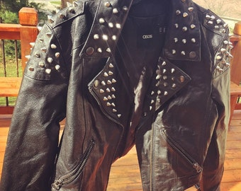 Vintage Studded Motorcycle Biker Real Leather Cropped Jacket