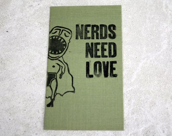 Original Linoldruck Nerds need Love (with big mouth)