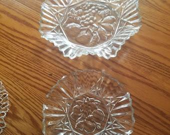 Federal Glass Pioneer Crystal Fruit Pattern Bowel/Platters