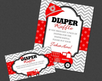 Firetruck Baby Shower Diaper Raffle Ticket And Diaper Raffle Sign - INSTANT DOWNLOAD - Fire Engine Truck Firefighter