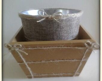 Twine & Burlap Planter with Wood Box