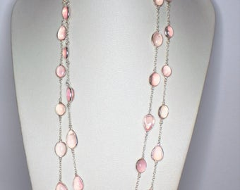 Silver 925 necklace set with Rose Quartz