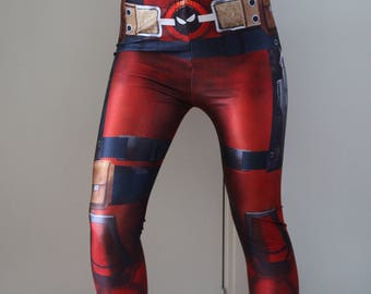DeadPool Leggings - Deadpool Cosplay Pants w/ the belt and pockets printed on!