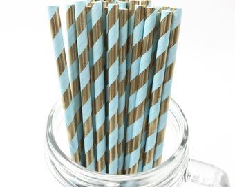 Blue & Gold Foil Stripe Paper Straws