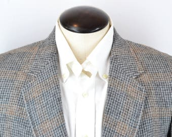 Pendleton Vintage Tweed Gray Burnt Orange Plaid Wool Sport Coat Jacket Sz 40R