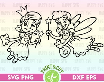 Tooth Fairy SVG, Tooth Fairy Clipart, First Tooth, Tooth Fairy Decal, Svg Silhouette, Svg File, SVG Cutting File, Fairy SVG, Svg Vector Art