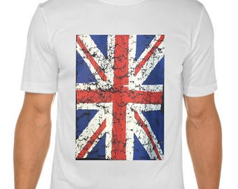 Distressed Union Jack British Flag Printed Cotton T shirt