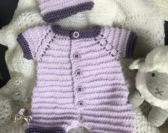 Hand knitted Baby Girl Romper Set