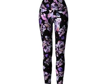 Black Floral Leggings, printed, watercolor, artistic leggings, activewear, flower leggings, unique leggings, floral workout pants, ethical