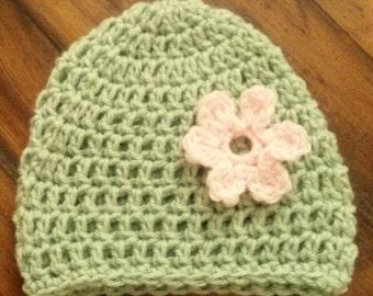 Crocheted Soft Green Child's Beanie